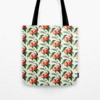 peach Tote Bags featuring Peach by Grace