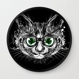 Cat portrait with green eyes Wall Clock