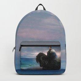 Knight on black Friesian horse Backpack