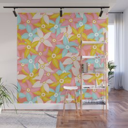 Stylized Large Illustrated Flowers in summer color palette Wall Mural