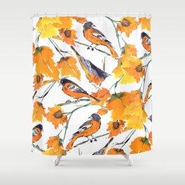 Birds in Autumn Shower Curtain