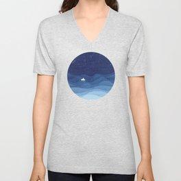 blue ocean waves, sailboat ocean stars Unisex V-Neck