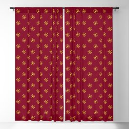 Electric Yellow on Burgundy Red Snowflakes Blackout Curtain