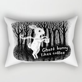 Ghost bunny likes coffee Rectangular Pillow