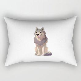 Happy gray wolf. Vector graphic character Rectangular Pillow