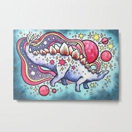 Star Stego | Cosmic Dinosaur Watercolor Metal Print