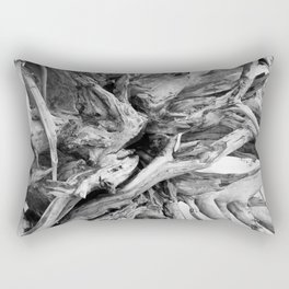 Black and White Driftwood Rectangular Pillow