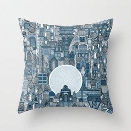 space city mono blue Throw Pillow