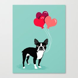 Boston Terrier Valentine heart balloons for pet owners and dog lovers gift for someone they love Canvas Print