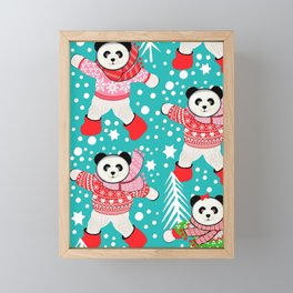Panda's in Fair Isle Jumpers, Christmas, Thanksgiving, Holidays Framed Mini Art Print