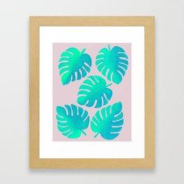 Monstera Leaves on Pink Framed Art Print
