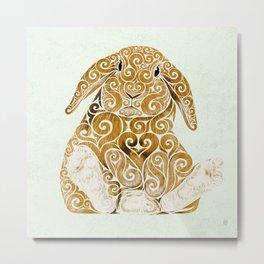 Swirly Bunny Metal Print