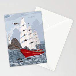 Red ship Stationery Cards