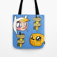 finn and jake Tote Bags featuring Finn and Jake by Nate Galbraith