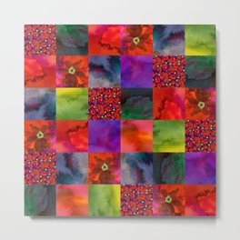Poppy patchwork Metal Print
