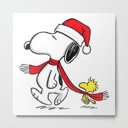 Snoopy Woodstock hug Christmas Metal Print
