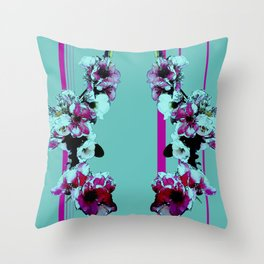 Hana Collection - Graphic Hot Pink and Teal Sakura Cherry Blossoms Throw Pillow