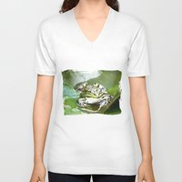 frog V-neck T-shirts featuring frog by Karl-Heinz Lüpke