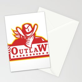 Outlaw Holding Sign Retro Stationery Cards