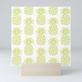 Retro Mid Century Modern Pineapple Pattern 731 Chatreuse Mini Art Print