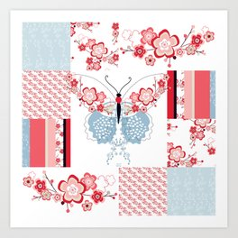 Cherry Blossom Butterfly Collection Art Print