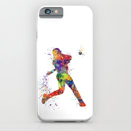 Boy Baseball Batter Colorful Watercolor iPhone Case