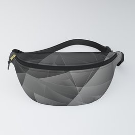Metal sharp pattern of chaotic black and white fragments of glass, foil, highlights silver ingots. Fanny Pack