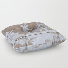 Wood slat deer in the snowy woods Floor Pillow