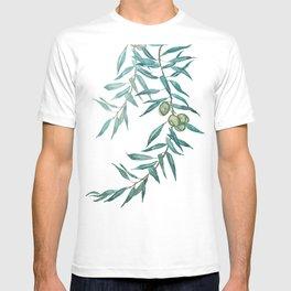 green olive leaf watercolor T-shirt