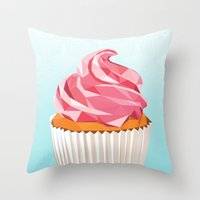 cupcake Throw Pillows featuring Cupcake by kalieda