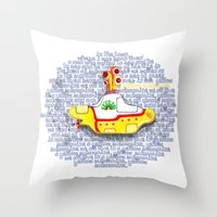 yellow submarine Throw Pillows featuring Yellow Submarine by Anaïs Rivola