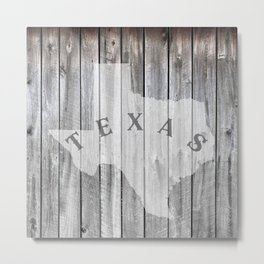 Texas Map State Barn Wall Wood Rustic Country Home Metal Print