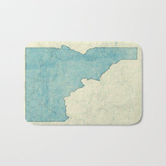 Idaho State Map Blue Vintage Bath Mat