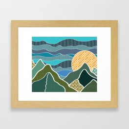 Digitally Quilted Mountains Framed Art Print