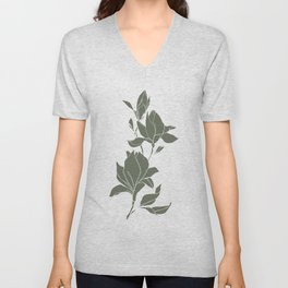 Botanical illustration line drawing - Magnolia Green Unisex V-Neck