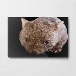 Young Wombat Low Poly Geometric Triangles Metal Print