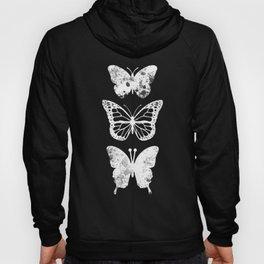 Butterflies Three White Design Clothes Women Hoody