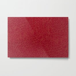 Dark red rough leather texture abstract Metal Print