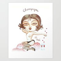 champagne Art Prints featuring Champagne by laxisca