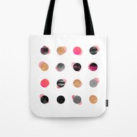 gold dots Tote Bags featuring Pink & Gold Minimal Dots by Elisabeth Fredriksson