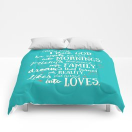 Thank God, inspirational quote for motivation, happy life, love, friends, family, dreams, home decor Comforters