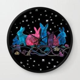 Jewel Tone Bunnies with Trompe L'oeil Studs and Tassels Wall Clock