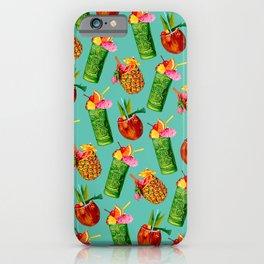 Tiki Cocktail Pattern - Teal iPhone Case