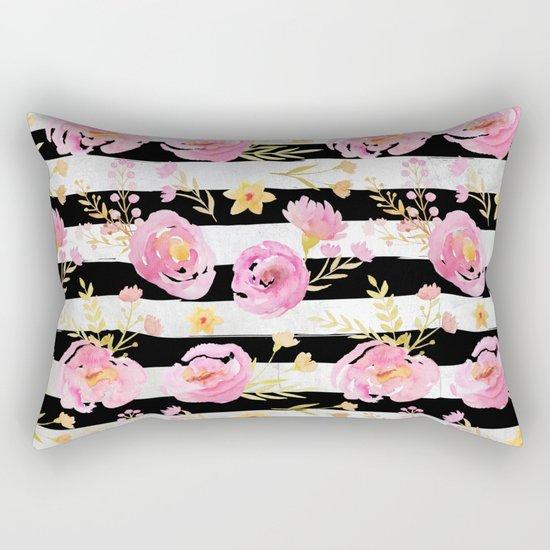 Delicate Poppy Pattern On Stripes Rectangular Pillow