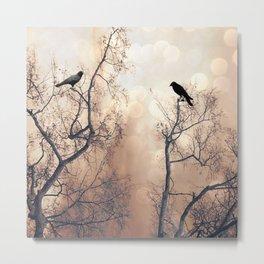 Ethereal Haunting Black Ravens In Trees  Metal Print