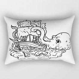 Kraken Attacking Sailing Ship Doodle Art Rectangular Pillow