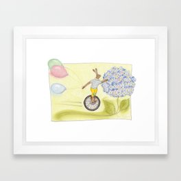 """OH DEAR, OH DEAR, I'M LATE, I'M LATE..."" [Dear unicycle, please save the day!] Framed Art Print"
