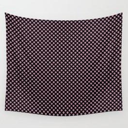 Black and Rosebud Polka Dots Wall Tapestry