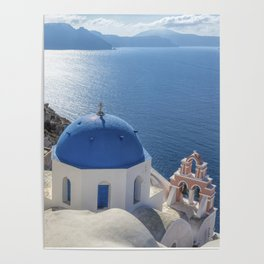 Santorini Island with churches and sea view in Greece Poster