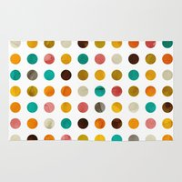polka dot Area & Throw Rugs featuring Autumnal polka dot by cafelab